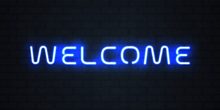 Welcome neon light sign. Vector glowing blue neon welcome signage