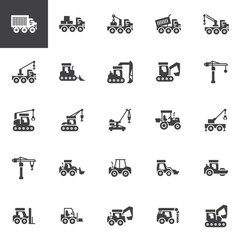 Construction truck vector icons set, modern solid symbol collection, filled style pictogram pack. Signs, logo illustration. Set includes icons as crane, industry, bulldozer, tractor, excavator truck