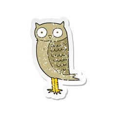 retro distressed sticker of a cartoon owl