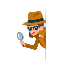 Cute woman snoop detective magnifying glass tec peeking out corner search help noir female cartoon character design isolated vector illustration