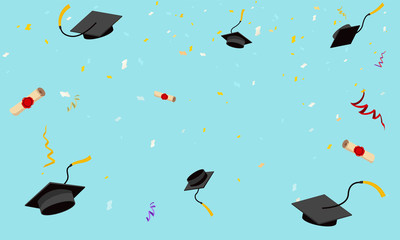 Graduation hats fly in sky poster graduation caps scrolls confetti flat design vector illustration