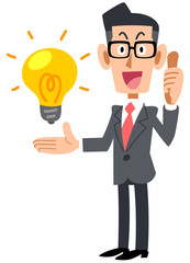 アイデアを評価する眼鏡をかけたビジネスマン