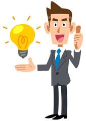 アイデアを評価するビジネスマン