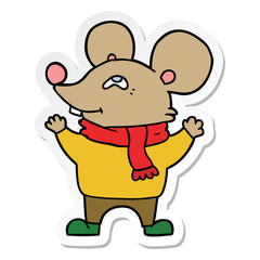 sticker of a cartoon mouse wearing scarf