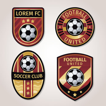 Golden soccer or football badge collection with black and gold star combination.