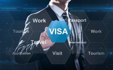 Concept about visa for traveling or working abroad