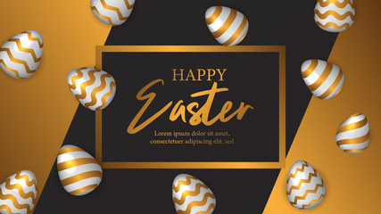 Happy Easter celebrate invitation poster with 3D realistic luxury golden egg