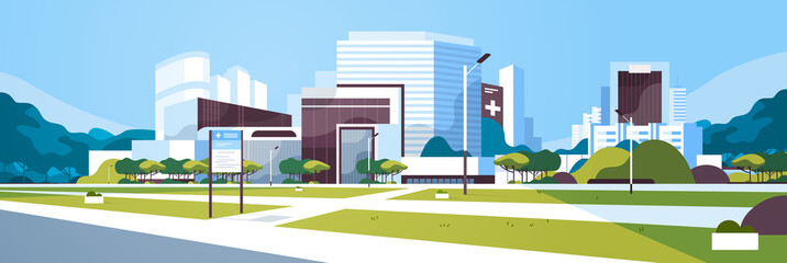 big hospital building modern medical clinic exterior with yard information board trees cityscape background flat horizontal banner