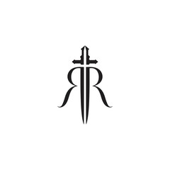 initial letter RR and sword shape logo template vector design illustration.