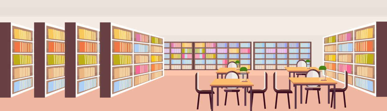 modern library interior bookshelves with books empty no people room workplace reading desks study area education knowledge concept flat horizontal banner