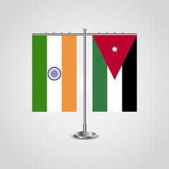 Table stand with flags of India and Jordan.Two flag. Flag pole. Symbolizing the cooperation between the two countries. Table flags