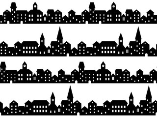 Black and white houses and buildings small town street seamless pattern, vector