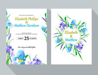 Wedding invitation with iris flower. Garden flowers. Vector decorative greeting card or invitation design background
