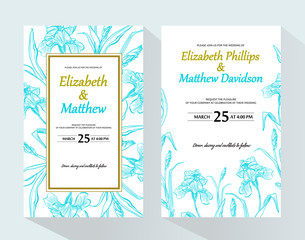 Wedding invitation with iris flower. Garden flowers. Vector decorative greeting card or invitation design background