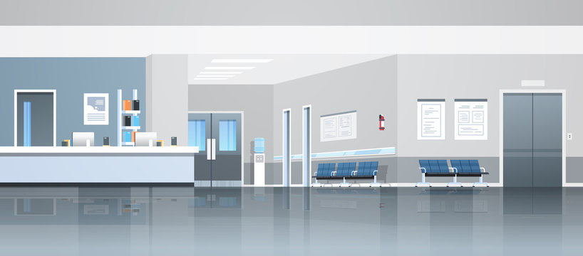 hospital reception waiting hall with counter seats doors and elevator empty no people medical clinic interior horizontal banner panorama flat