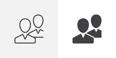Community, users, friends icon. line and glyph version, outline and filled vector sign. Two people avatar linear and full pictogram. Symbol, logo illustration. Different style icons set