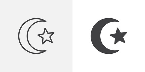 Star and crescent of Islam icon. line and glyph version, outline and filled vector sign. Religious islamic crescent star linear and full pictogram. Symbol, logo illustration. Different style icons set
