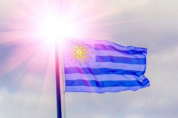 The national flag of Uruguay is fluttering in the wind against the background of the cloudy sky.