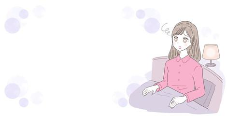 若い女性 夜 不安 フレーム素材