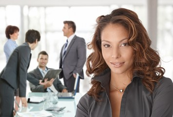 Happy businesswoman on business meeting