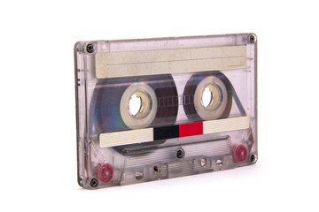 old film audio cassette on white background. isolated