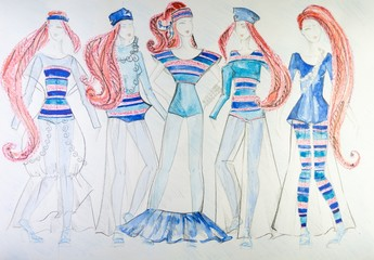 the drawing of clothes colored pencils on paper