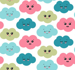Vector seamless pattern with cute smiling colorful clouds.