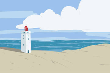 Bright beach sand dunes with the famous danish landmark lighthouse with blue sky background. Rubjerg Knude Lighthouse, Lønstrup in North Jutland in Denmark, North sea. Vector hand drawn illustration