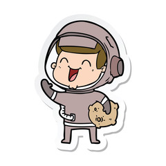 sticker of a happy cartoon astronaut