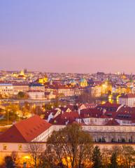 Fototapete - skyline  Prague twilight Czech cityscape