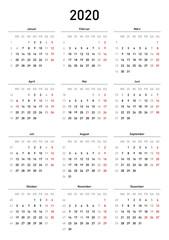 Kalendervorlage 2020, einfach, Hochformat, Feiertage Deutschland