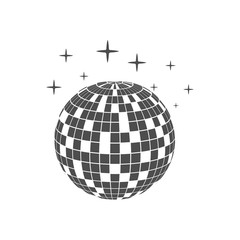 Disco ball icon isolated on white background. Vector illustration, flat design.
