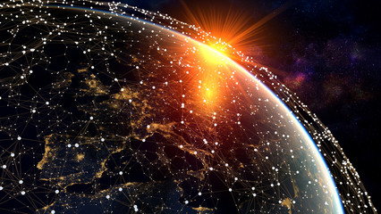 Network and data exchange over planet earth in space .3D rendering .Elements of this image furnished by NASA.