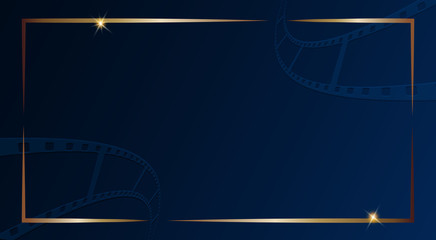 Film strip isolated on dark blue background with gold frame. Design template cinema festival banner, brochure, flyer, poster, tickets, leaflet. Vector illustration in 3d isometric style. Vector EPS 10