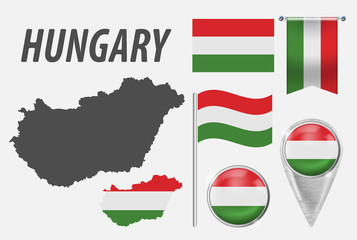 HUNGARY. Collection of symbols in colors national flag on various objects isolated on white background. Flag, pointer, button, waving and hanging flag, detailed outline map and country inside flag.