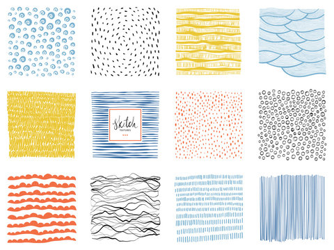 Set of abstract backgrounds and scribble textures. Vector illustration.