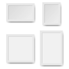 Set of empty white picture frames.Vector paper frame isolated on white