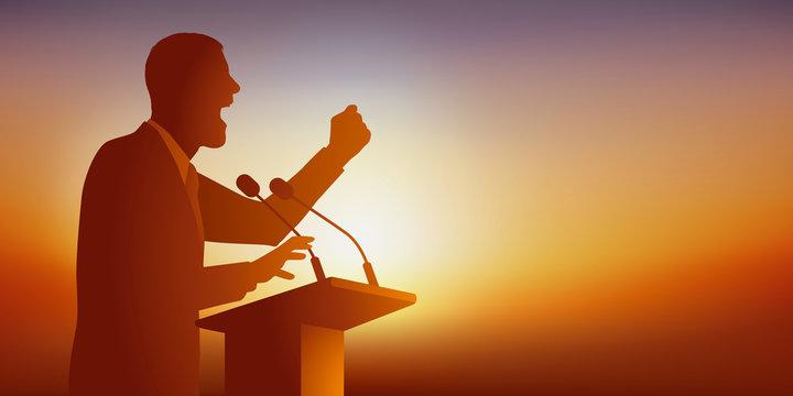 Concept de la conférence, avec un homme politique derrière un pupitre, qui se positionne en leader en prononçant un discours à un meeting de campagne électorale.