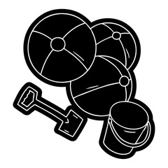 cartoon icon drawing beach balls with a bucket and spade