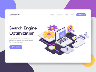 Landing page template of Search Engine Optimization Illustration Concept. Isometric flat design concept of web page design for website and mobile website.Vector illustration