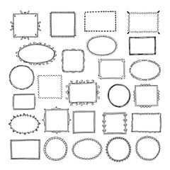 Sketch picture frames. Doodle square borders sketch lines hand drawn photo empty frame vintage cartoon vector set. Illustration of photo frame doodle, scribble sketchy