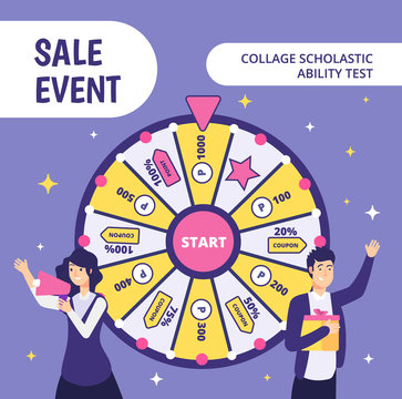 Examinees discount event. SAT work event ability businessman gift high worker college student in uniform classroom test vector concept. Discount event, shopaholic test, promotion offer illustration