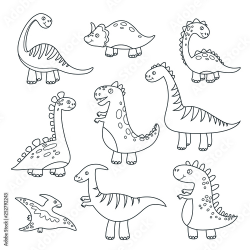 Outline Dinosaurs Cute Baby Dino Funny Monsters Jurassic Wildlife