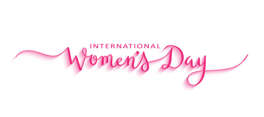 HAPPY WOMEN'S DAY Pink 3D Relief Brush Calligraphy Banner