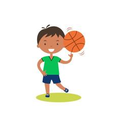 Cute cartoon boy with basketball.Children physical activities outdoors.