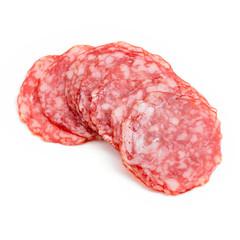 Close up on salami slices