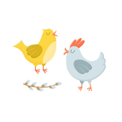 Couple of cute Easter characters - hen and rooster, singing together, cute cartoon vector illustration isolated on white background. Eacter chicken - hen and rooster, cartoon characters