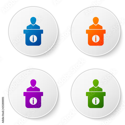 Color Information Desk Icon Isolated On White Background Man