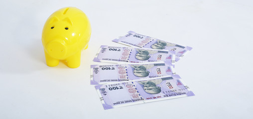 Picture of new Indian currency and yellow piggy bank. Isolated on the white background.