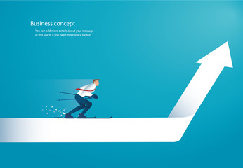 businessman ski on arrow to achieving success vector eps10
